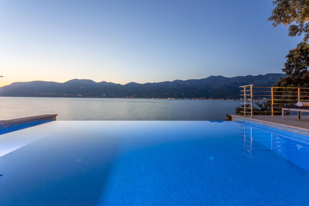 twilight pool and sea