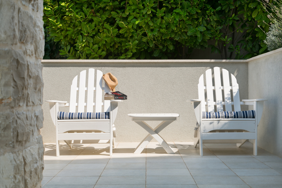 white chairs in sun