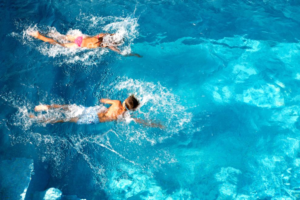 swimming in pool