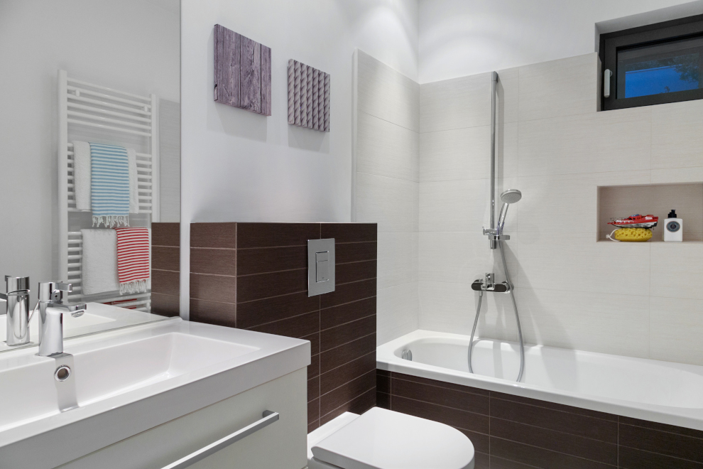 bathroom with brown panelling